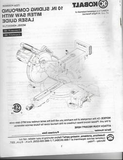 """KOBALT 10"""" Sliding Compound Miter Saw with Laser Guide Manua"""