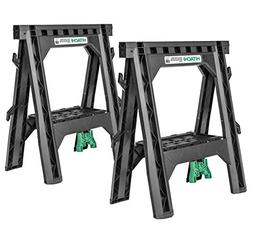 Hitachi 115445 Folding Sawhorses, Heavy Duty Stand, 4 Sawbuc