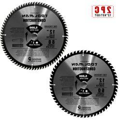 "2pc 12"" x1"" 60T 80T Carbide Tip Table Miter Cutting Circular"