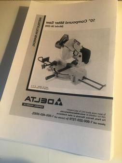 "Delta 36-220 10"" Compound Miter Saw Instruction Manual"