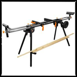 Black Collapsible Rolling Miter Saw Stand W/ 3-Onboard Outle