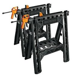 NEW WORX Clamping Sawhorse Pair with Bar Clamps, Built-in Sh