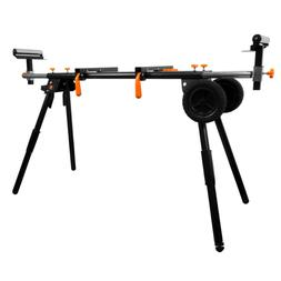 Collapsible Rolling Miter Saw Stand W/ 3-Onboard Outlets +Ta