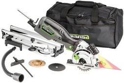 Compact Circular Saw Kit w/ Laser 3 1/2 Plunge Miter Base Ca
