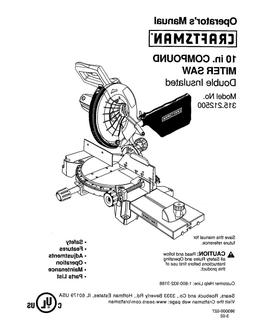 Craftsman 10 inch Compound Miter Saw Operating Maint Parts M