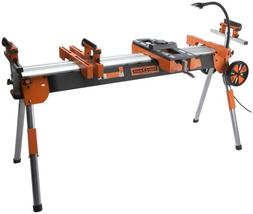 Folding Miter Saw Power Tool Stand with Wheels, Light, Vise