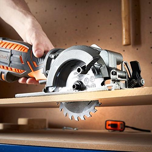VonHaus Compact Circular Saw 5.8 Amp Adjustable 0°- 45°, Port, Hose and for Cutting