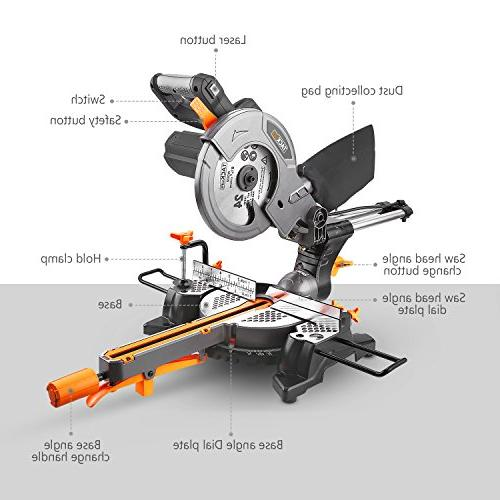 """Miter Saw with TACKLIFE 8-1/2'' Single-Bevel Compound Saw, 7.87"""" 10feet Core Length, Lightweight Aluminum"""
