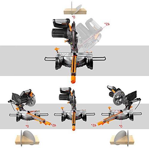 Miter Saw Laser, TACKLIFE 4500RPM Single-Bevel Sliding 10feet Length, Lightweight Aluminum PMS01X