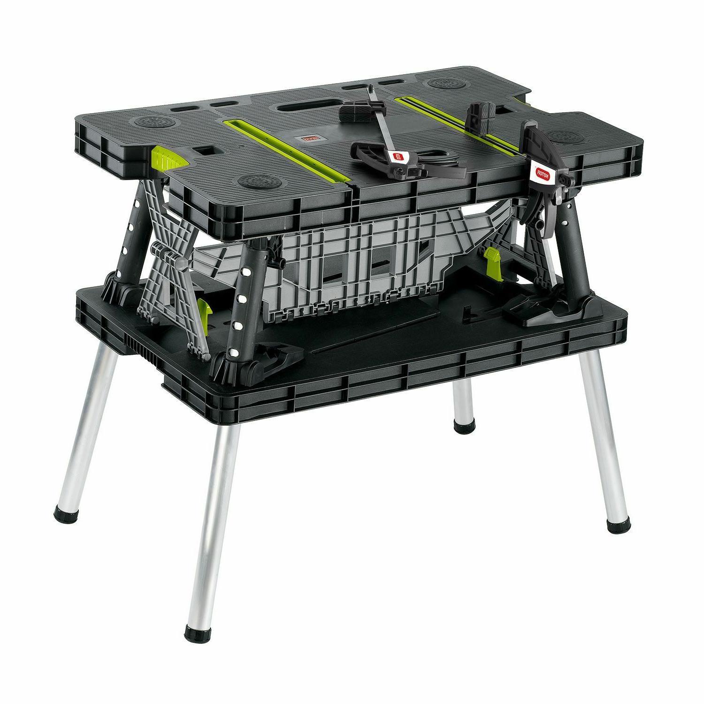 portable adjustable folding garage workbench
