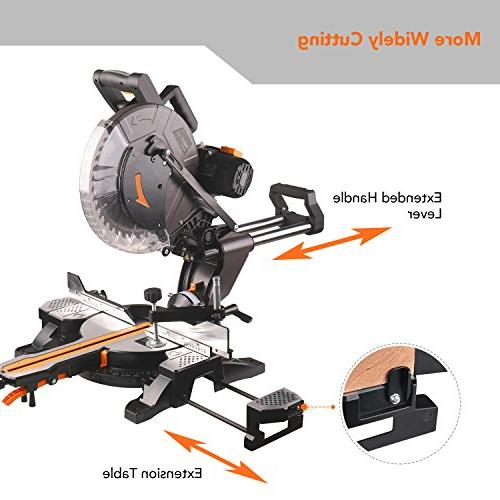 Sliding Saw, 12inch 15Amp Double-Bevel Miter Saw with Laser, M 40T for Wood