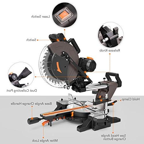 Sliding 12inch 15Amp Miter Saw Laser, Adjustable Table, 3800rpm, M Cable, Blade for