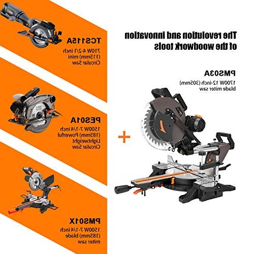 Sliding Miter Saw, Tacklife 12inch Double-Bevel Compound Miter with Adjustable Cutting Angle, Extensible Table, 3800rpm, Clamping Device,10ft/3 M Cable, for